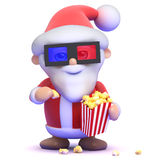 3d Santa eats popcorn at the 3d movie Stock Photo