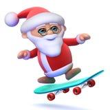 3d Santa em um skate ilustração royalty free