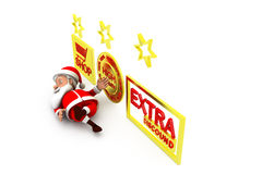 3d santa extra discount concept Royalty Free Stock Images