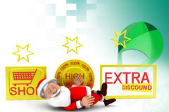 3d santa extra discount  illustration Royalty Free Stock Photos