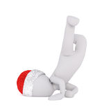 3D Santa figure doing martial arts technique Stock Images