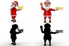 3d santa free concept collections with alpha and shadow channel Royalty Free Stock Photography