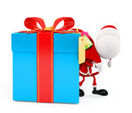 3d Santa with gift box Stock Photography