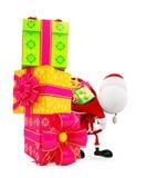 3d Santa with gift box Stock Photos