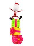 3d Santa with gift box Stock Photo
