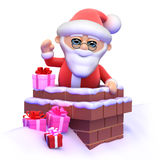 3d Santa goes down the chimney Stock Photography
