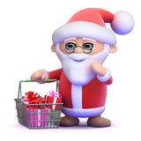3d Santa goes shopping Royalty Free Stock Images