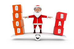 3d santa good bad concept Royalty Free Stock Image