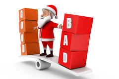 3d santa good bad concept Royalty Free Stock Images