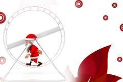 3d santa hamster wheel  illustration Royalty Free Stock Photography