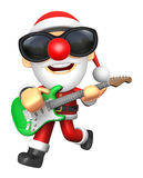 3D Santa has to be playing the Green electric guitar. 3D Christm Royalty Free Stock Photo