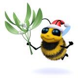 3d Santa honey bee with mistletoe Stock Images