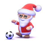 3d Santa kicks the football Stock Images