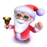 3d Santa kreskówka dzwoni jego Bożenarodzeniowego dzwon Zdjęcie Royalty Free
