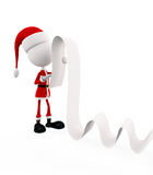 3d Santa with long list Royalty Free Stock Photo