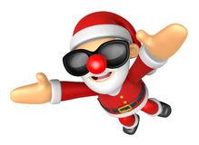 3D Santa Mascot flying to the sky. 3D Christmas Character Design Royalty Free Stock Photos