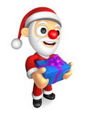 3D Santa mascot the hand is holding a Blue Big Gift Box. 3D Chri Stock Photography