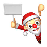 3D Santa mascot hand is holding a picket and board. 3D Christmas Stock Photo