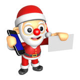 3D Santa Mascot hand is holding a Smart Phone and business cards Stock Image
