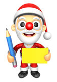 3D Santa Mascot hand is holding a Yellow paper and Pencil. 3D Ch Stock Photos