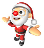 3D Santa mascot has been welcomed with both hands. 3D Christmas Royalty Free Stock Image