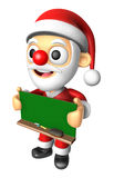 3D Santa Mascot holding a big board with both Green chalkboard. Stock Photo
