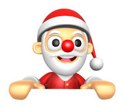 3D Santa Mascot holding a big board with both hands. 3D Christma Royalty Free Stock Image