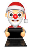 3D Santa Mascot holding a big board with both Laptop. 3D Christm Stock Photos