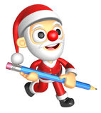 3D Santa Mascot holding a big board with both Pencil. 3D Christm Royalty Free Stock Photography