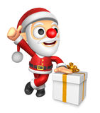 3D Santa Mascot the left hand best gesture and right hand is hol Royalty Free Stock Photo