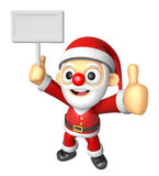 3D Santa Mascot the right hand best gesture and left hand is hol Stock Image