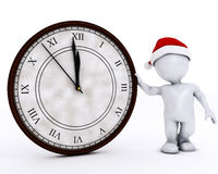 3D Santa Morph Man with clock before midnight Royalty Free Stock Photos