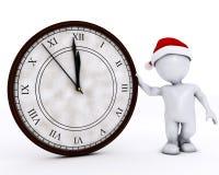 3D Santa Morph Man con l'orologio prima della mezzanotte Fotografie Stock Libere da Diritti