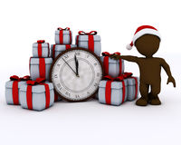 3D Santa Morph Man mit Uhr vor Mitternacht Lizenzfreies Stockfoto