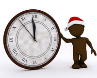 3D Santa Morph Man mit Uhr vor Mitternacht Stockfotos