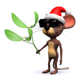 3d Santa mouse with mistletoe Stock Images