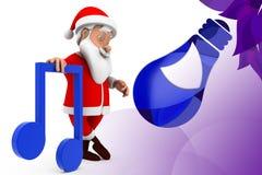 3d santa music icon  illustration Royalty Free Stock Images