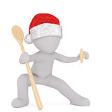 3d Santa in ninja pose with wooden spoons Royalty Free Stock Photos
