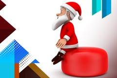 3d santa op knoopillustratie Royalty-vrije Stock Foto