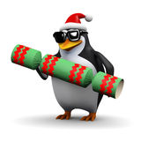 3d Santa penguin with Christmas cracker Stock Images