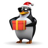 3d Santa penguin with Christmas present Royalty Free Stock Images