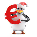 3d Santa penguin with Euro currency symbol Royalty Free Stock Images