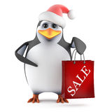 3d Santa penguin has been to the sales Royalty Free Stock Image