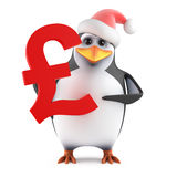 3d Santa penguin holding a UK Pounds symbol Royalty Free Stock Images