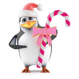 3d Santa penguin with pink candy Stock Image