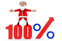 3d santa 100 percent concept Royalty Free Stock Photos