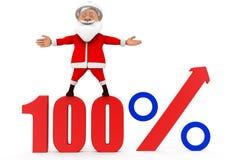 3d santa 100 percentenconcept Royalty-vrije Stock Foto's