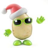 3d Santa potato. 3d render of a potato dressed as Father Christmas vector illustration