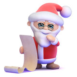 3d Santa reads a list of good boys and girls Stock Photos
