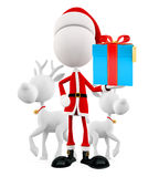 3d Santa and reindeer with gift box Royalty Free Stock Photography